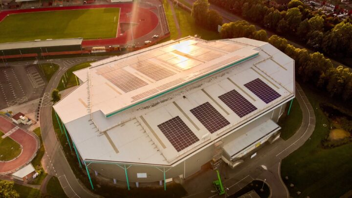 View of the solar panels on the Velodrome, managed by Egni Co-op..
